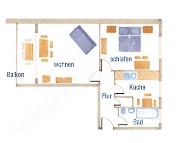 Wohnungsgrundriß der 62m² Fehmarn Ferienwohnung
