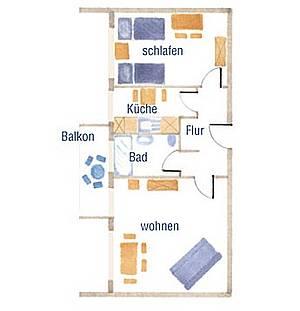Wohnungsgrundriß ihrer Ferienwohnung auf Fehmarn