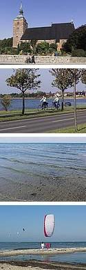 Fotos von der Sonneninsel Fehmarn. Kirche, Fahrradtour an der Ostsee, seichter Ostseestrand, Surfen und Kyten auf Fehmarn
